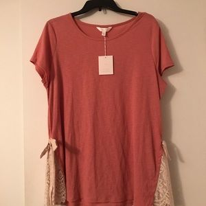 Lauren Conrad Pink Lace Top XL